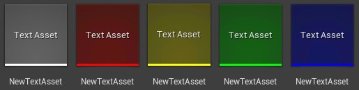 Different asset thumbnail colors