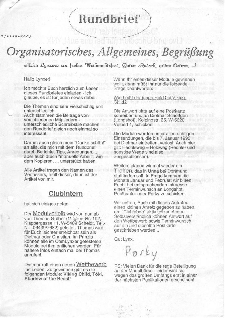 Internationaler Lynx Club Newsletter December 1992 Gmpreussner